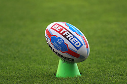 General view of the betfred matchday ball on the pitch ahead of the match