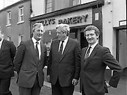 Taoiseach At Kelly's Bakery Kilcock..1986..08.09.1986..09.08.1986..8th September 1986..Today the Taoiseach,Garret Fitzgerald,officially opened a new computer centre at Kelly's Bakery. The bakery is a large employer based in Kilcock,Co Kildare. Mr Fitzgerald was accompanied by the Minister for Justice,Mr Alan Dukes and Mr Bernard Durkan TD...This image shows the Taoiseach,Mr Garret Fitzgerald, at the official opening of Kelly,s new computer centre in Kilcock. Included in the photograph are Mr Canice Kelly,Managing Director,Kelly's Bakery and Mr Pat Smyth,General Manager (right).