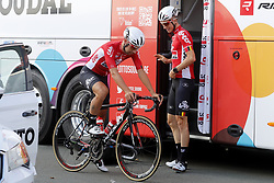July 4, 2018 - Mouilleron Le Captif, France - MOUILLERON-LE-CAPTIF, FRANCE - JULY 4 : DE GENDT Thomas  (BEL)  of Lotto Soudal and KEUKELEIRE Jens  (BEL)  of Lotto Soudal during a team reconnaissance of stage 1 prior the 105th edition of the 2018 Tour de France cycling race, a stage of 201 kms between Noirmoutier-en-l'Ile and Mouilleron-Le-Captif on July 04, 2018 in Mouilleron-Le-Captif, France, 4/07/18 ( Motordriver Kenny Verfaillie - Photo by Jan De Meuleneir / Photonews. (Credit Image: © Panoramic via ZUMA Press)