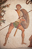 6th century Byzantine Roman mosaics of a hunter from the peristyle of the Great Palace from the reign of Emperor Justinian I. Istanbul, Turkey. .<br /> <br /> If you prefer to buy from our ALAMY PHOTO LIBRARY  Collection visit : https://www.alamy.com/portfolio/paul-williams-funkystock/great-palace-mosaic-istanbul.html<br /> <br /> Visit our ROMAN MOSAIC PHOTO COLLECTIONS for more photos to download  as wall art prints https://funkystock.photoshelter.com/gallery-collection/Roman-Mosaics-Art-Pictures-Images/C0000LcfNel7FpLI