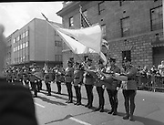 """St Patrick's Day Parade.1982.17/03/1982.03.17.1982.Photo of American """"state troopers' saluting the viewing stand across from the G.P.O."""