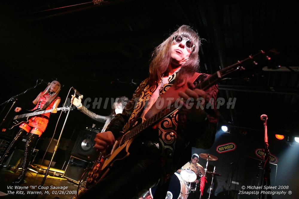 WARREN, MI, SATURDAY, JAN. 26, 2008: Vic Wayne N Coup Sauvage,  at The Ritz, Warren, MI, 01/26/2008. (Image Credit: Michael Spleet / 2SnapsUp Photography)