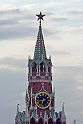 Moscow, Russia, 22/07/2006.&#xA;The Spassky Tower of the Kremlin at dusk<br />