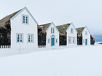 Grenjaðarstaður Turf Farm in winter, North Iceland.
