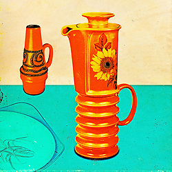 Vintage Mid Century Ceramics Distressed Retro Collection with ribbed flower coffee pot volcano vase and midwinter serving dish on blue base