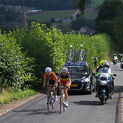 Boels Rental Ladies Tour Bunde-Valkenburg Marieke van Wanroij, Liesbet de Vocht in an attack on the Eyserbos