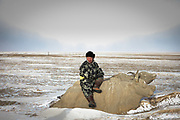 A yak made of concrete.<br /> Road trip with a Jeep in the Gobi region.