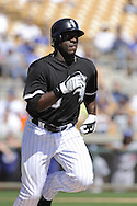 GLENDALE, AZ - MARCH 5:  Jared Mitchell #80 of the Chicago White Sox runs against the Los Angeles Dodgers on March 5, 2010 at The Ballpark at Camelback Ranch in Glendale, Arizona. (Photo by Ron Vesely)