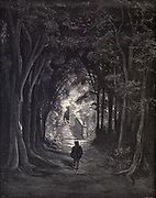 "He sees a flight of steps, a gate overgrown with truant roses, and some one beside the gate in that warm sunshine dozes."" Illustration from 'The Sleeping Beauty' by Paul Gustave Doré (1832-1883). The prince approaches the castle, dormant for 100 years. From the book Fairy realm. A collection of the favourite old tales. Illustrated by the pencil of Gustave Dore by Tom Hood, (1835-1874); Gustave Doré, (1832-1883) Published in London by Ward, Lock and Tyler in 1866"