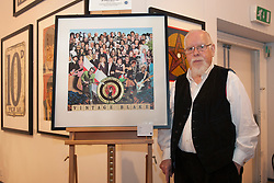 """© licensed to London News Pictures. London, UK 20/06/2012. Sir Peter Blake launches the sale of his charity print """"Vintage Blake"""" at his latest exhibition at The Mall Galleries, showing works of the last six decades of his career to celebrate his 80th birthday celebrations at this year's Vintage Festival. Photo credit: Tolga Akmen/LNP"""