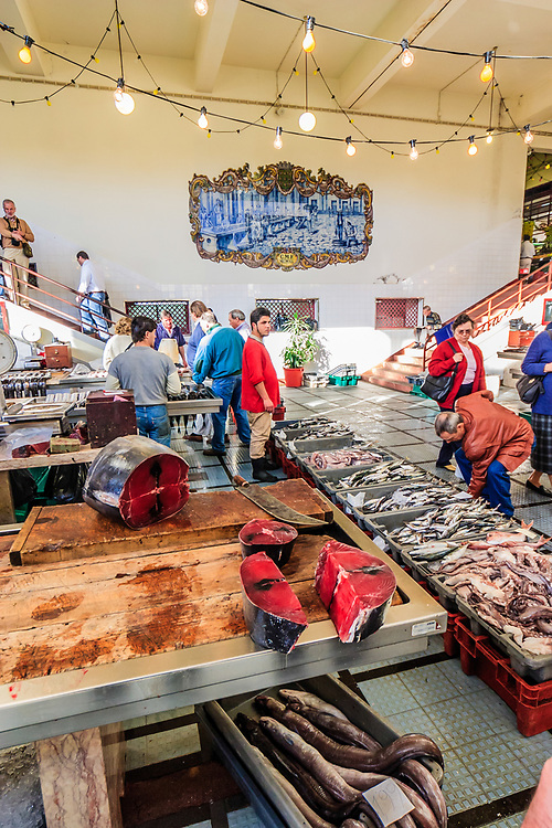 Fish market in Funchal, Madeira. The Funchal fish market (Mercado dos Lavradores) is situated next to the western end of the Old Town.