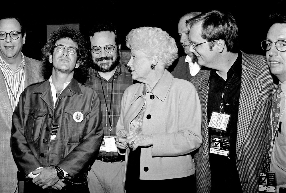 Texas Governor Ann Richards, with SWSW directors and BMI executives, March 1993, Austin, Texas