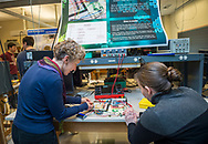 Photo by Mark DiOrio / Colgate University<br /> From left, Beth Parks, Associate Professor of Physics and Astronomy along with Brianna Holmes '19, a physics major, look at an electronic game during the Electronics Presentations: Digital Arcade at the Robert H.N. Ho Science Center, Mar. 10, 2017 in Hamilton, N.Y.