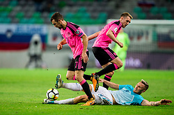 Darren Fletcher of Scotland vs James McArthur of Scotland vs Jasmin Kurtic of Slovenia during football match between National Teams of Slovenia and Scotland of Fifa 2018 World Cup European qualifiers, on October 8, 2017 in SRC Stozice, Ljubljana, Slovenia. Photo by Vid Ponikvar / Sportida