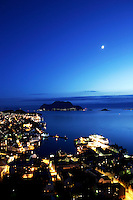 Ålesund 20050513. Hurtigruta ligger til kai ved Skansekaia (th) i vakkert måneskinn<br /> <br /> Photo of Aalesund in beautiful moonlight.<br /> <br /> Foto: Svein Ove Ekornesvåg