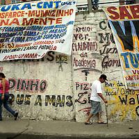 South America, Brazil. Rio de Janiero. Street scene in favela of Rocinho.