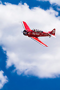 "SNJ-4 ""Big Red"", flown by Joey ""Gordo"" Sanders of Jasper, Alabama in the T-6 Gold Race, Sunday at Reno."