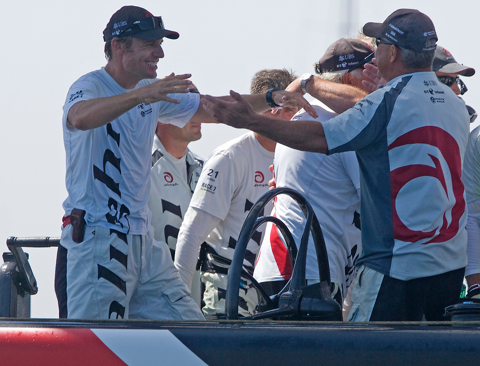 Ernesto Bertarelli hugs Dirk Kramers, technical director.<br /> Race 7 ALINGHI beats Emirates Team New Zealand by 1 second and wins the America's Cup <br /> 32nd America's Cup, 2007<br /> Valencia, Spain<br /> © Daniel Forster