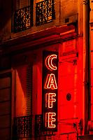 A neon Cafe sign, Rue du Four, 6th arr., Paris, France.