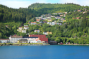 Hillside houses in Trolla village, Trondheim Municipality, Sor-Trondelag county, Norway