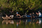 Canoe on river<br /> Rewa River<br /> Rainforest<br /> GUYANA. South America