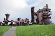Gas Works Park is the site of the former Seattle Gas Light Company gasification plant which operated 1906-1956 on the north shore of Lake Union in the Wallingford neighborhood of Seattle, Washington, USA. Added to the National Register of Historic Places in 2013, Gas Works park contains remnants of the sole remaining coal gasification plant in the US. City councilwoman Myrtle Edwards spearheaded Seattle's drive to acquire it for a park in 1962. Seattle landscape architect Richard Haag designed the park which opened in 1975.