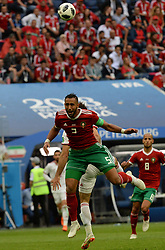 June 15, 2018 - Sochi, Rússia - SOCHI, SC - 15.06.2018: PORTUGAL VS SPAIN - Russia, St. Petersburg, on June 15, 2018. 2018 FIFA World Cup Russia. The match of the group stage of the FIFA World Cup - 2018 between national teams of Morocco and Iran. In the picture: (from left to right) player of Morocco national team Medhi Benatia. (Credit Image: © Andrey Pronin/Fotoarena via ZUMA Press)