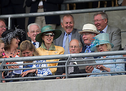 The Princess Royal and Sir Alex Ferguson ( back right) watch  King George VI at <br /> Ascot Racecourse, Ascot, United Kingdom<br /> Saturday, 27th July 2013<br /> Picture by  i-Images