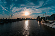 Sunborn London, a floating super-yacht is seen docked in Royal Victoria Dock under a beautiful sunset. It is thought that it could be serving as one of the makeshift hospitals during coronavirus outbreak near Excell Center in London, Thursday, March 26, 2020. (Photo/Vudi Xhymshiti)