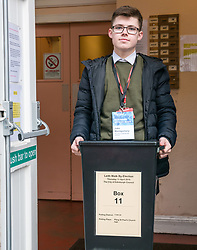 Pictured: Leith Walk Council By-Election, Leith Walk,  Edinburgh, Scotland, 10 April 2019. Pictured:  Leith Walk. The City of Edinburgh Council's elections team, prepare for the Leith Walk by-election. Council Officer Jake sets up for polling at one of the Ward polling stations with the ballot box at Pilrig St Paul's Church Hall and deliver the materials needed for the vote.  The by-election takes place on Thursday April 11.<br /> <br /> Sally Anderson | EdinburghElitemedia.co.uk
