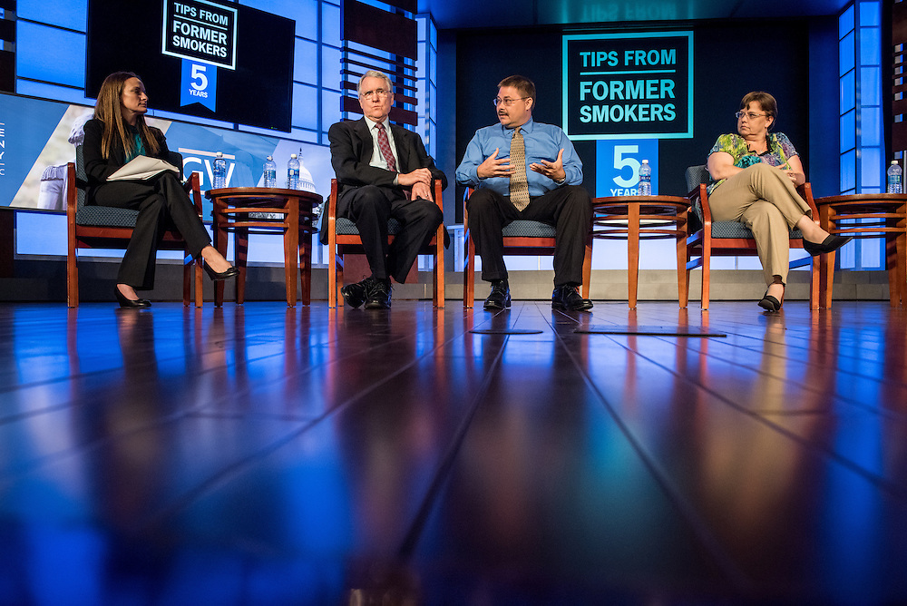 """Panelists speak at an event, """"Tips From Former Smokers,"""" at the Jack Morton Auditorium at Geaorge Washington University April 27, 2016 in Washington DC.  Photo Ken Cedeno"""