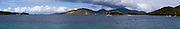 Panoramic view of Waterlemon Cay, St. John, US Virgin Islands, with sailboats, on a beautiful day.