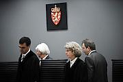 June 22, 2012 - Oslo, Norway: Judges in the Breivik trial enter the courtroom during the last session of the ten week long trial against Anders Behring Breivik.