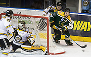 Powell River forward Tristan Mullin carries the puck behind the net of Victoria Grizzlies goaltender Mathew Galajda at the Q Centre in  Colwood, British Columbia Canada on March 27, 2017.
