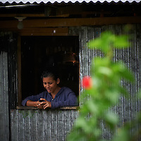 Woman in the Window Texting. Corrugated Metal House in the Rain Forest of Costa Rica. Image taken with a Nikon D3s and 70-300 mm VR lens (ISO 2000, 300 mm, f/5.6, 1/250 sec). .