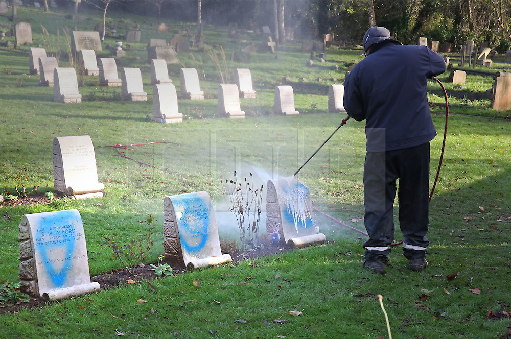 © Licensed to London News Pictures. 23/11/2015. London, UK. A Commonwealth War Graves Commission employee steam cleans graffiti from grave stones at the Australian Military Cemetery next to St Mary's Parish Church in Harefield. Vandals had attempted to saw through the flagpole after defacing head stones with blue spray paint. Photo credit: Peter Macdiarmid/LNP