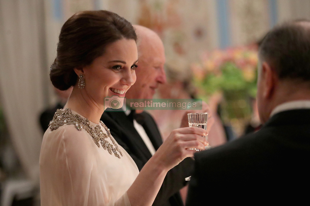 The Duchess of Cambridge attends Dinner at the Royal Palace, Oslo, Norway and the end of the third day of her tour of Scandinavia.