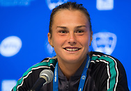 Aryna Sabalenka of Belarus talks to the media after winning her third-round match at the 2018 Western and Southern Open WTA Premier 5 tennis tournament, Cincinnati, Ohio, USA, on August 16th 2018 - Photo Rob Prange / SpainProSportsImages / DPPI / ProSportsImages / DPPI