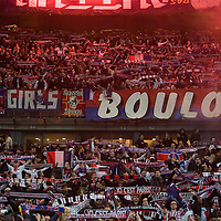 29 March 2008: Fans of the PSG light flares and hold banners during the French League Cup final football  match won 2-1 by Paris Saint-Germain (PSG) over RC Lens, at the Stade de France in Saint-Denis, near Paris, France.