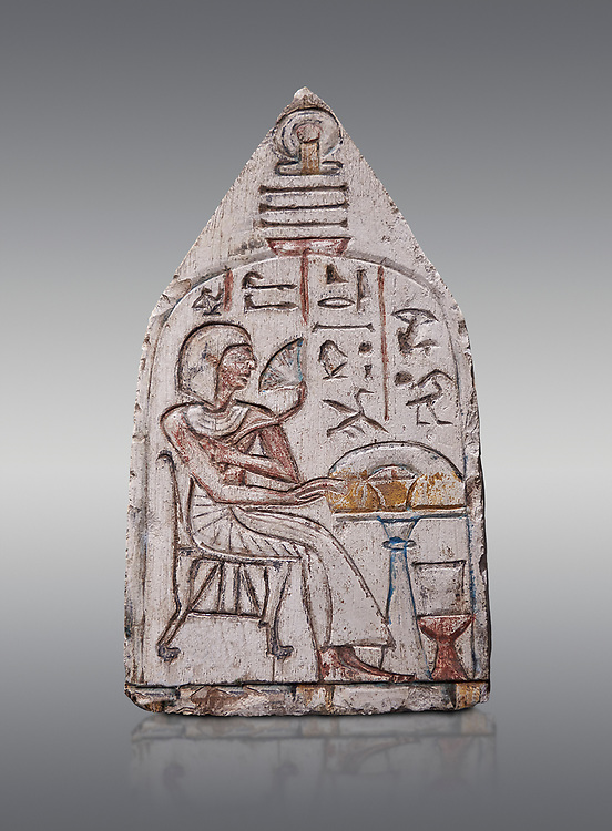 """Ancient Egyptian Ra stele , limestone, New Kingdom, 19th Dynasty, (1279-1190 BC), Deir el-Medina,  Egyptian Museum, Turin. Grey background.<br /> <br /> Akh iqer en Ra """" the excellent spirit of Ra' stele. The individual is smelling a lotus flower. One of three stele forund in different rooms of houses in Deir el-Medina where they stood in niches. .<br /> <br /> If you prefer to buy from our ALAMY PHOTO LIBRARY  Collection visit : https://www.alamy.com/portfolio/paul-williams-funkystock/ancient-egyptian-art-artefacts.html  . Type -   Turin   - into the LOWER SEARCH WITHIN GALLERY box. Refine search by adding background colour, subject etc<br /> <br /> Visit our ANCIENT WORLD PHOTO COLLECTIONS for more photos to download or buy as wall art prints https://funkystock.photoshelter.com/gallery-collection/Ancient-World-Art-Antiquities-Historic-Sites-Pictures-Images-of/C00006u26yqSkDOM"""