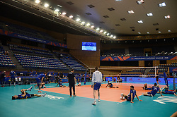 June 17, 2018 - Varna, Bulgaria - France national team during training session before the match with Canada, during Mens Volleyball Nations League, VNL, match between France and Canada at Palace of Culture and Sport in Varna, Bulgaria on June 17, 2018  (Credit Image: © Hristo Rusev/NurPhoto via ZUMA Press)