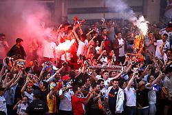 Valencia fans light flares in the streets ahead of the UEFA Europa League, Semi Final, Second Leg at the Camp de Mestalla, Valencia.