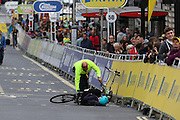 Rider falls off bike after the London Stage of the Aviva Tour of Britain, Regent Street, London, United Kingdom on 13 September 2015. Photo by Ellie Hoad.