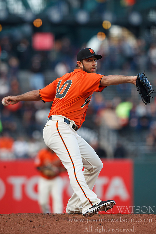 SAN FRANCISCO, CA - JULY 13: Madison Bumgarner #40 of the San Francisco Giants pitches against the Oakland Athletics during the first inning at AT&T Park on July 13, 2018 in San Francisco, California. The San Francisco Giants defeated the Oakland Athletics 7-1. (Photo by Jason O. Watson/Getty Images) *** Local Caption *** Madison Bumgarner