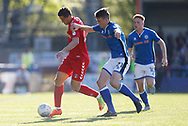 Michał Żyro of Charlton Athletic and Ryan Delaney of Rochdale contest a loose ball  during the EFL Sky Bet League 1 match between Rochdale and Charlton Athletic at Spotland, Rochdale, England on 5 May 2018. Picture by Paul Thompson.