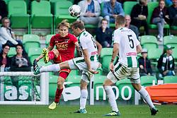 (L-R) Jonas Svensson of AZ, Ruben Yttergard Jenssen of FC Groningen during the Dutch Eredivisie match between FC Groningen and AZ Alkmaar at Noordlease stadium on October 15, 2017 in Groningen, The Netherlands