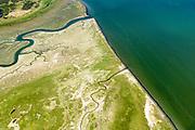Nederland, Friesland, Ameland, 05-07-2018; uiterste oostpunt van het eiland met natuurgebieden Het Oerd, de Oerderduinen en De Hon. Landschap van duinen, kwelders, geulen.<br /> Het Oerd nature reserve, landscape of dunes, salt marshes, gullies.<br /> <br /> luchtfoto (toeslag op standard tarieven);<br /> aerial photo (additional fee required);<br /> copyright foto/photo Siebe Swart