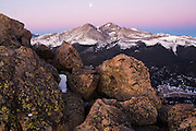 Moon over Longs Peak at dawn, from Twin Sisters Mountain, Rocky Mountain National Park, Colorado.