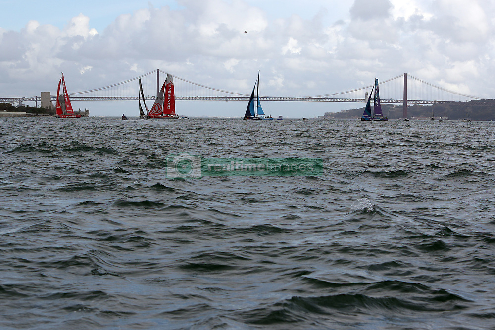 November 3, 2017 - Lisbon, Portugal - Mapfre Team captained by Xabi Fernandez, AkzoNobel Team captained by Simeon Tienpont, Clean Seas turn the tide on plastic Team captained by Dee Caffari, Sun Hung Kai Scallywag Team captained by David Witt, Vestas 11th Hour Racing Team captained by Charlie Enright, Team Brunel captained by Bouwe Bekking and Dongfeng team captained by Charles Caudrelier in action during the Volvo Ocean Race 2017-2018 In-port Race at the Tagus River in Lisbon, Portugal on November 3, 2017. Team Brunel won the in-port race. (Credit Image: © Pedro Fiuza/NurPhoto via ZUMA Press)