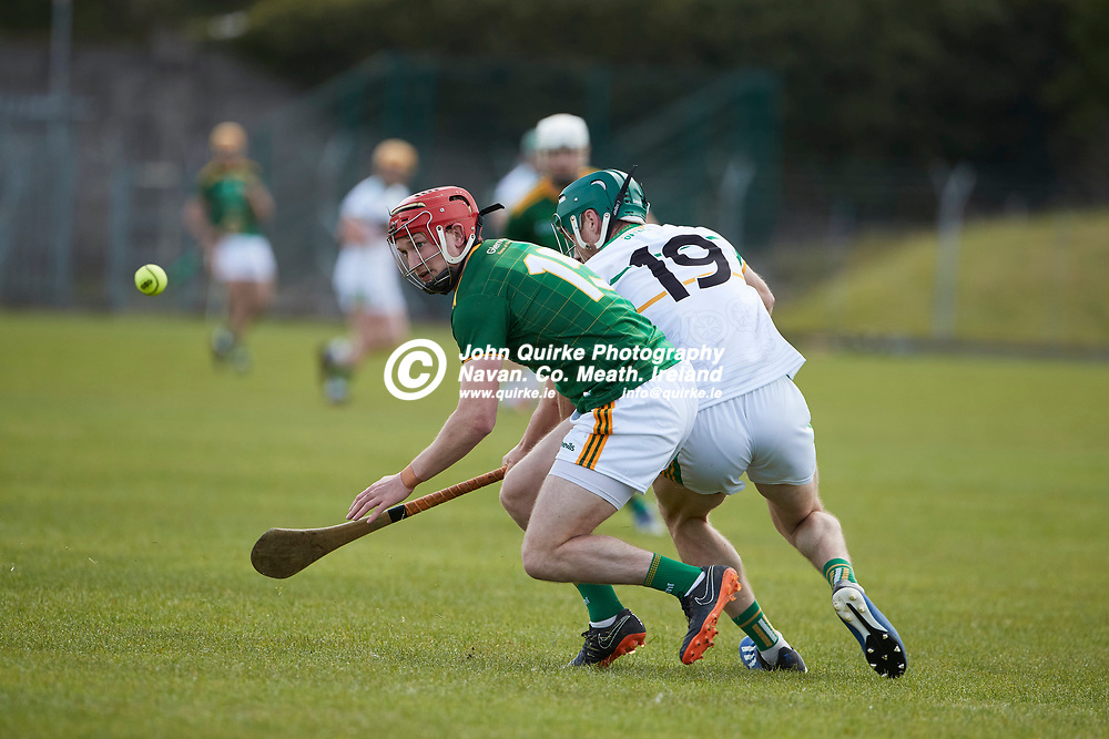 21-05-09, Allianz Hurling League, Division 2B, Round 1 at Pairc Tailteann, Navan<br /> Meath v Offaly<br /> Adam Gannon (Meath) & Paddy Rigney (Offaly)<br /> Photo: David Mullen / www.quirke.ie ©John Quirke Photography, Proudstown Road Navan. Co. Meath. 046-9079044 / 087-2579454.<br /> ISO: 400; Shutter: 1/1250; Aperture: 5;